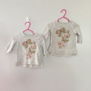 2 Infant Girls 6m OshKosh Butterfly Tops